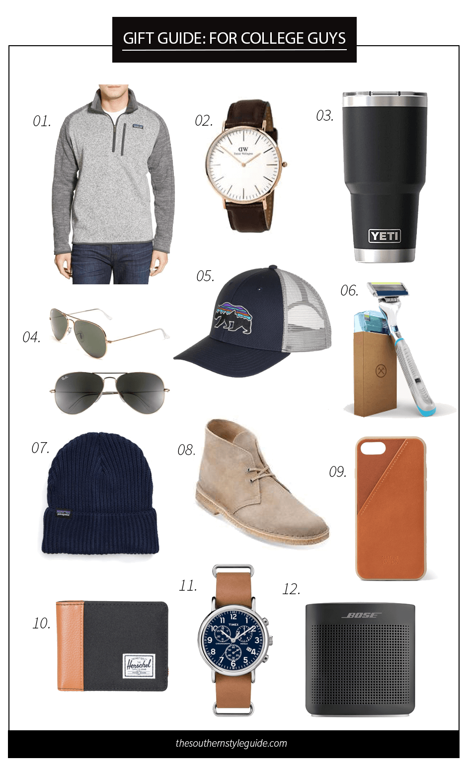 Gift Guide College Guys Gifts Christmas Holidays Best