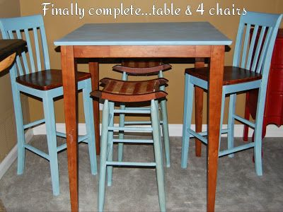 A complete set-pub table and 4 chairs chalk painted Annie Sloan ...