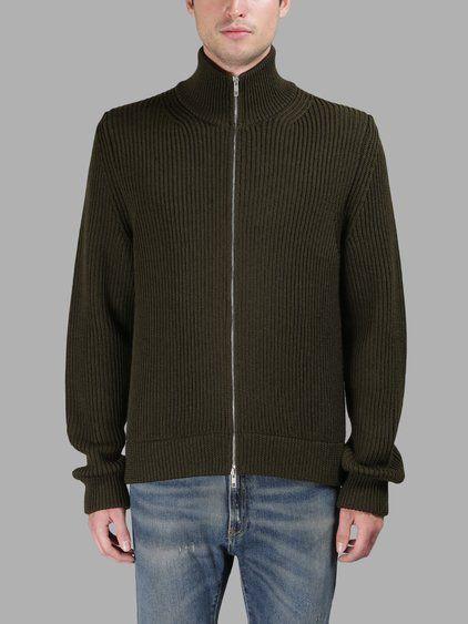 MAISON MARTIN MARGIELA Maison Margiela Man'S Green Knitted Zipped Sweater. #maisonmartinmargiela #cloth #knitwear