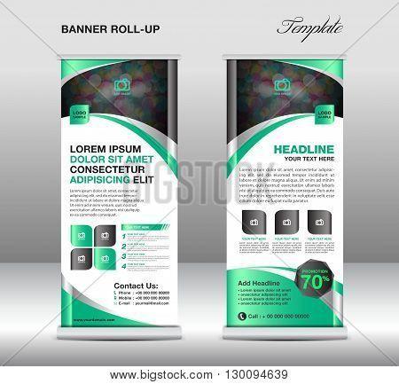 Roll up banner stand template stand design banner template Green - advertisement flyer template