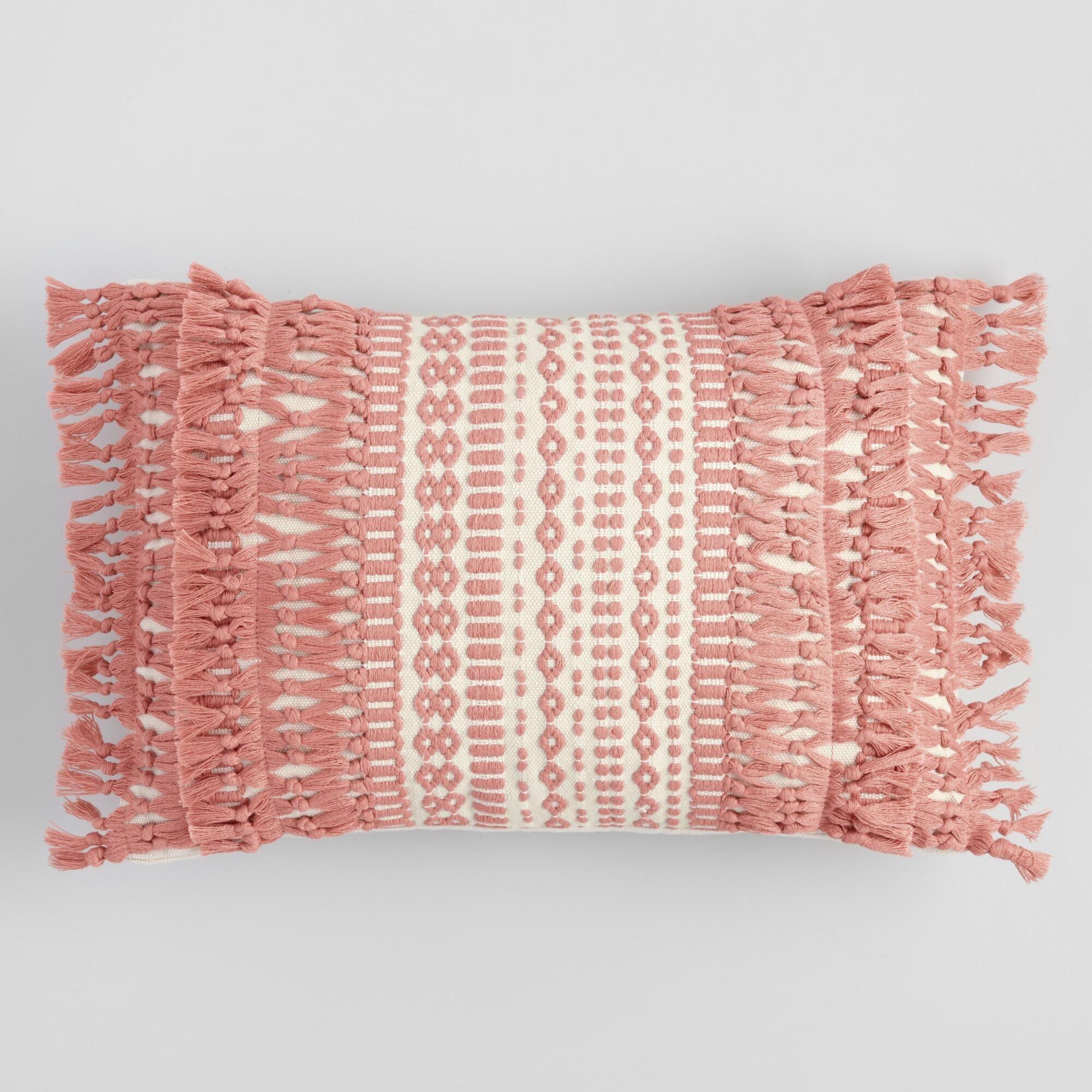 Pink Geo Fringe Indoor Outdoor Patio Lumbar Pillow By World Market