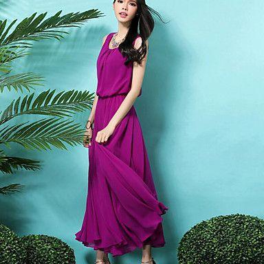 Damen Swing Kleid-Formal Einfach Solide Rundhalsausschnitt ...