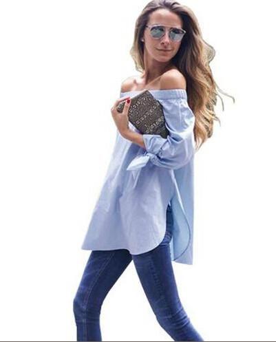 c0721f85bb79 Girls White Blouse Women Tops Beach Short Elegant Bow Blue Off Shoulder  Female Blouse Shirt