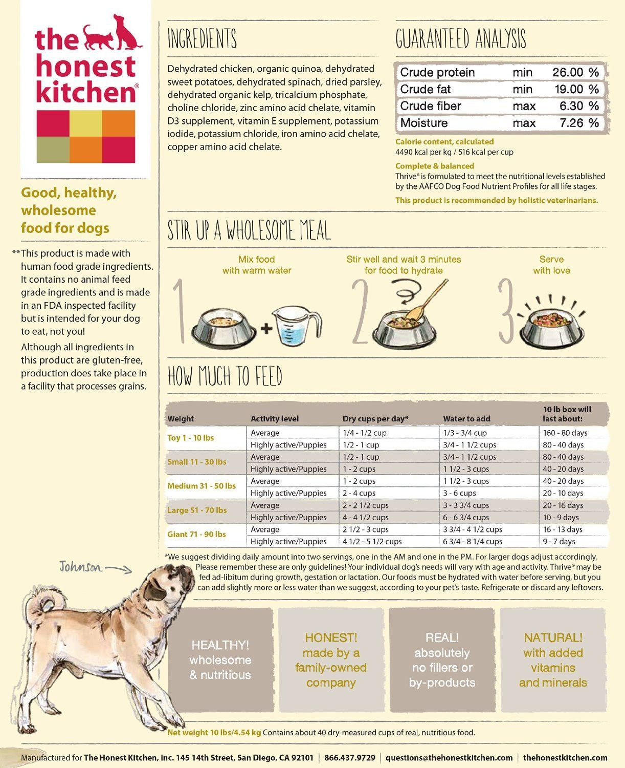 Honest Kitchen Limited Ingredient Chicken For Dogs Dehydrated