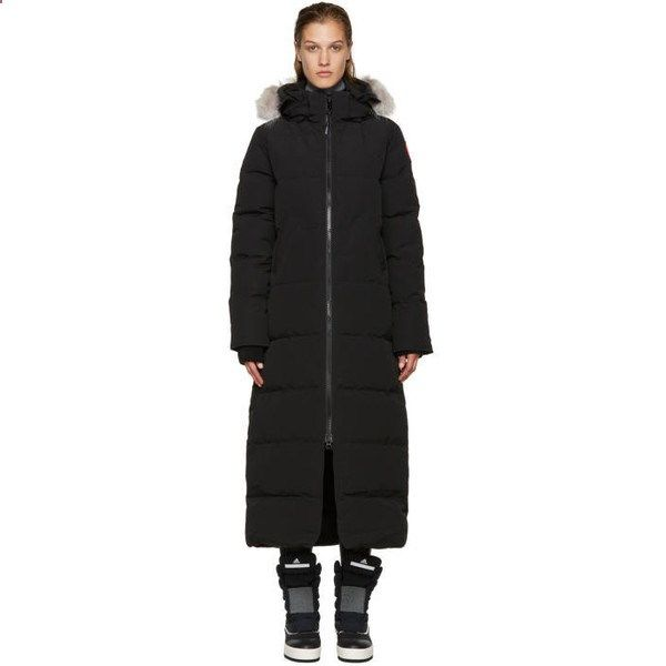 Canada Goose Black Down Mystique Parka ($740) ❤ liked on Polyvore featuring outerwear, coats, black, long sleeve coat, canada goose, quilted parka coat, ...