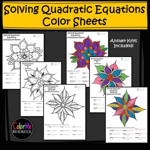 Solving Quadratic Equations Color by Number Worksheets ...