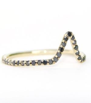 Eternity Triangle Ring, Black Diamond. A strong and graphic eternity band, set with a secret white diamond tucked amongst a field of black. #catbird #catbirdnyc #blackdiamond #trianglering #diamond #wwake
