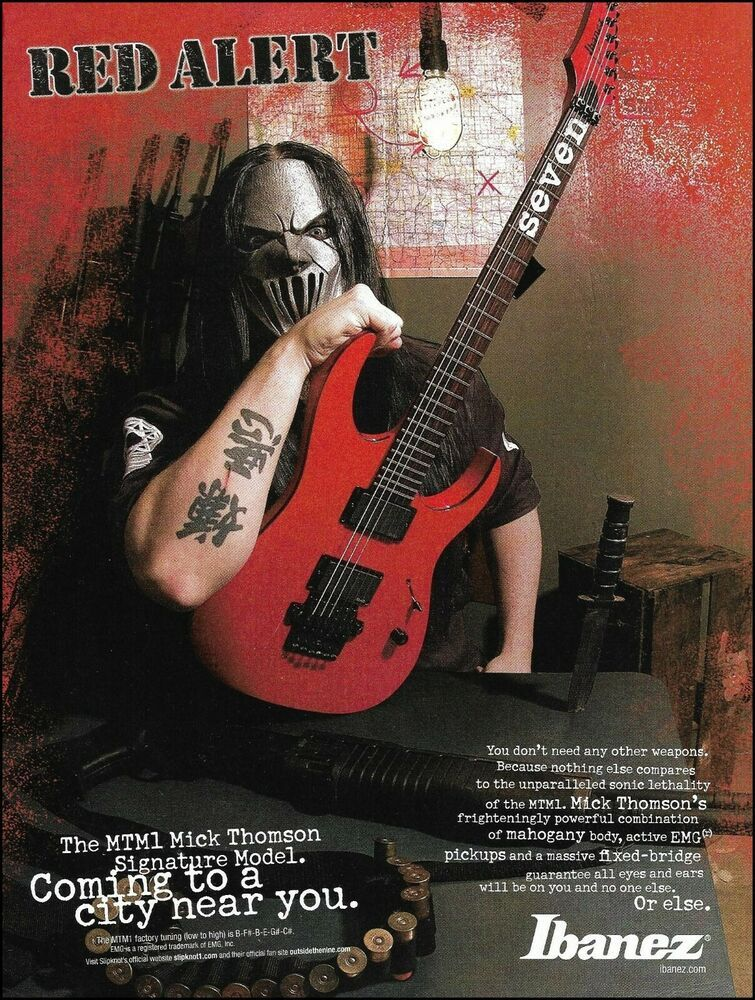 Slipknot Mick Thomson Signature Ibanez Mtm1 Guitar Advertisement 2006 Ad Print Ibanez Mick Thomson Guitar Lessons For Beginners Guitar Lessons