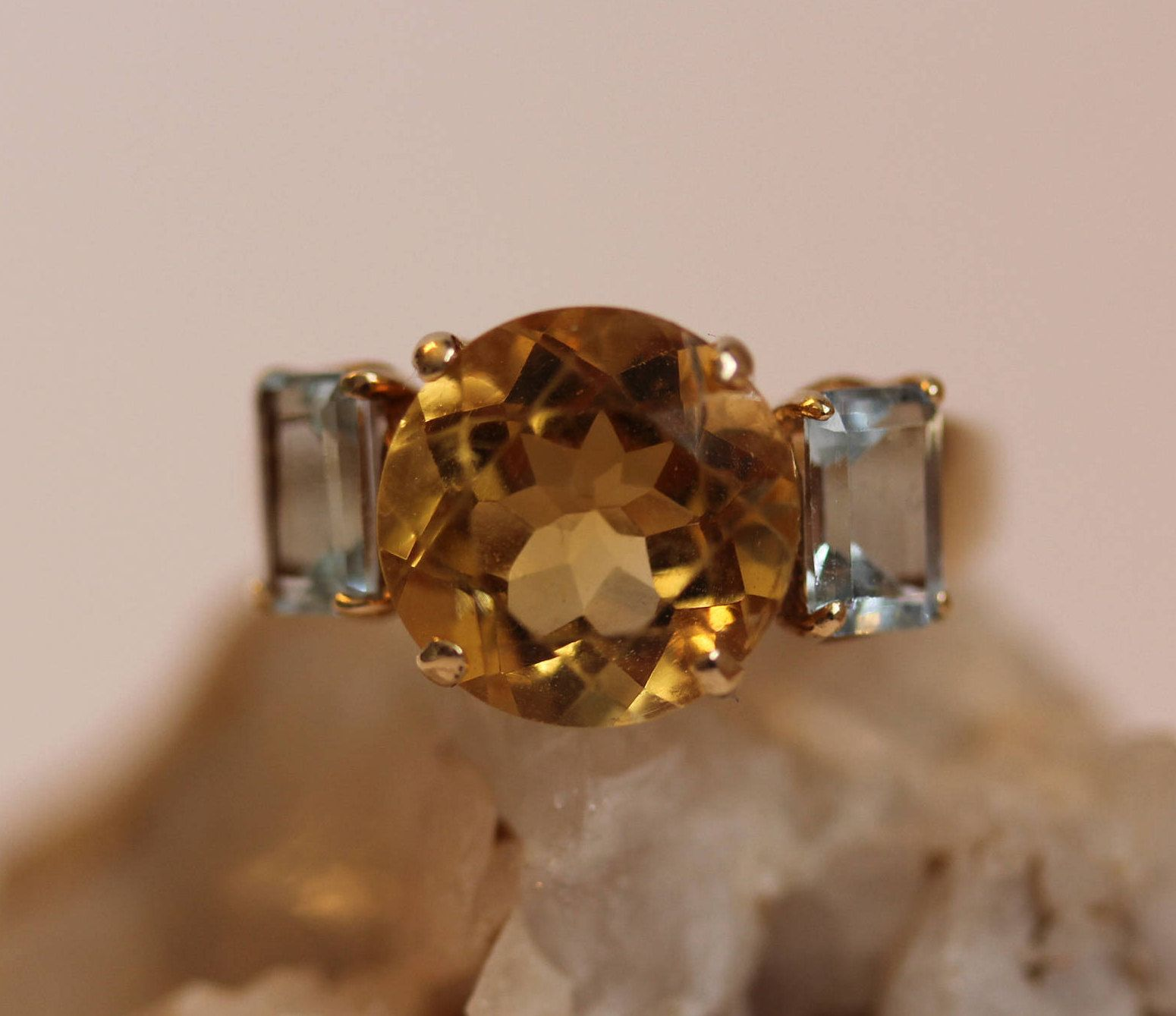 On Sale Beautiful Large Citrine And Blue Topaz Ring Size 7 Citrine Ring In 10k Yellow Gold 3 5ct Citrine Free Shipping B Blue Topaz Ring Citrine Ring Blue Topaz
