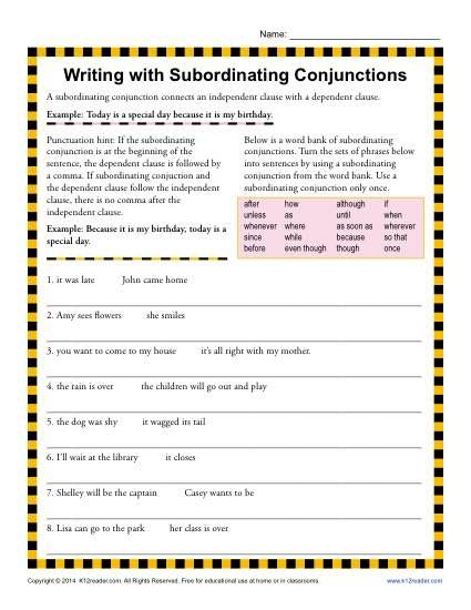 Writing With Subordinating Conjunctions Projects To Try