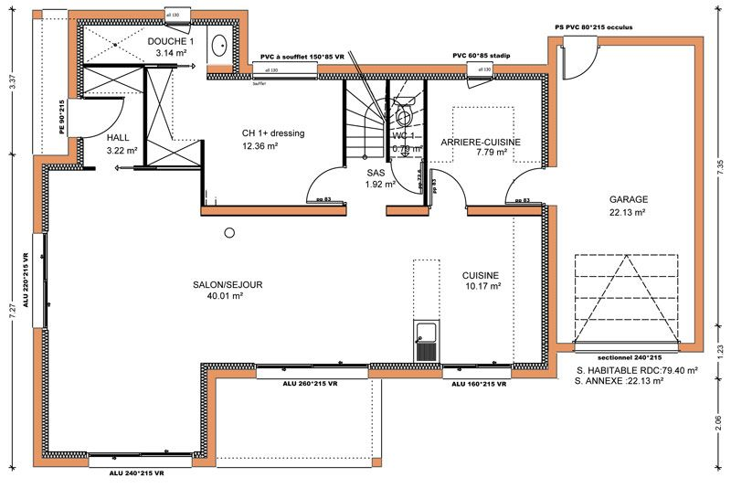 123m² 4 chambres RDC plan maison Pinterest House