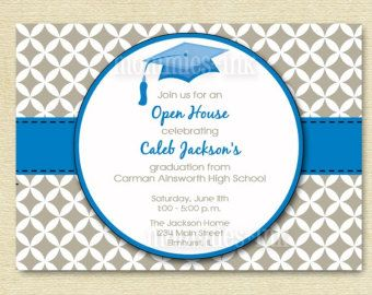 Graduation Invitation Open House Invitation Mortarboard Invitation