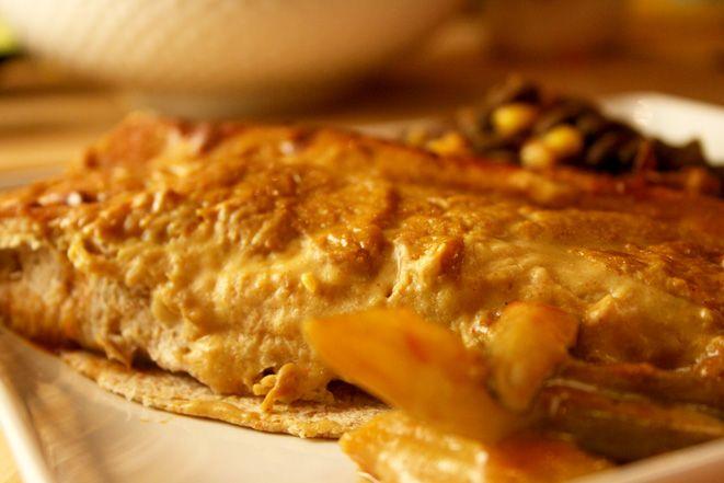 Barbeque Veggie Enchiladas with Cheese Sauce