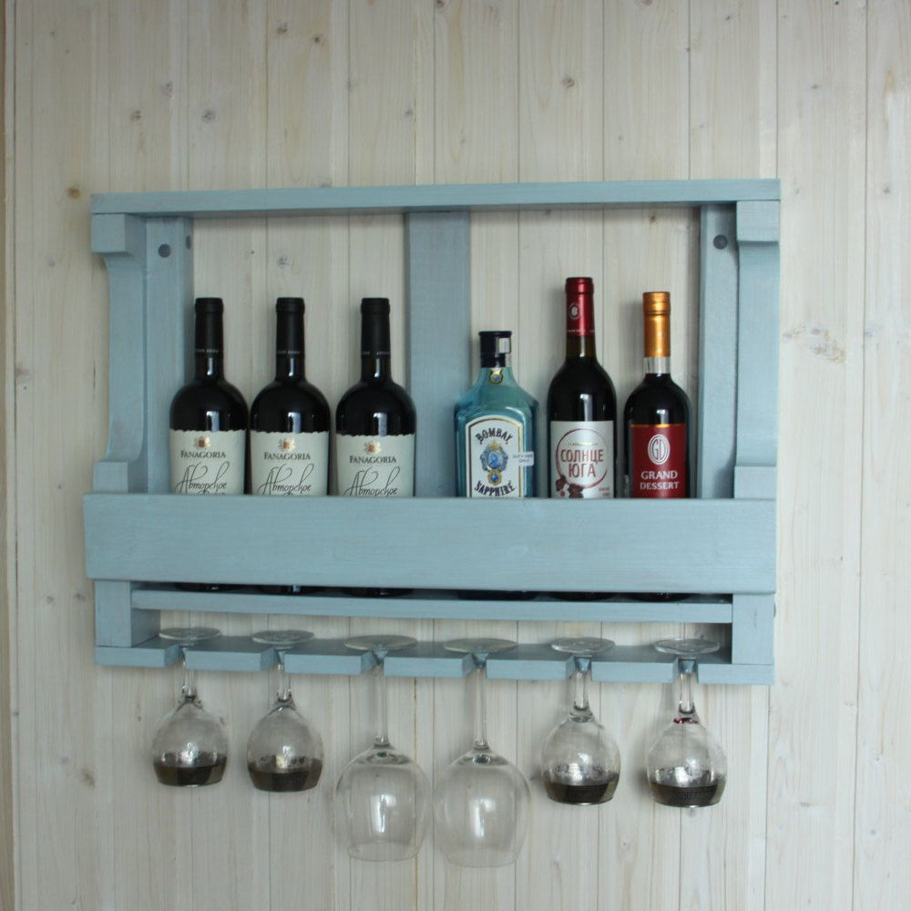 Blue Wine Rack Navy Wall Decor Hanging Gl Shelf