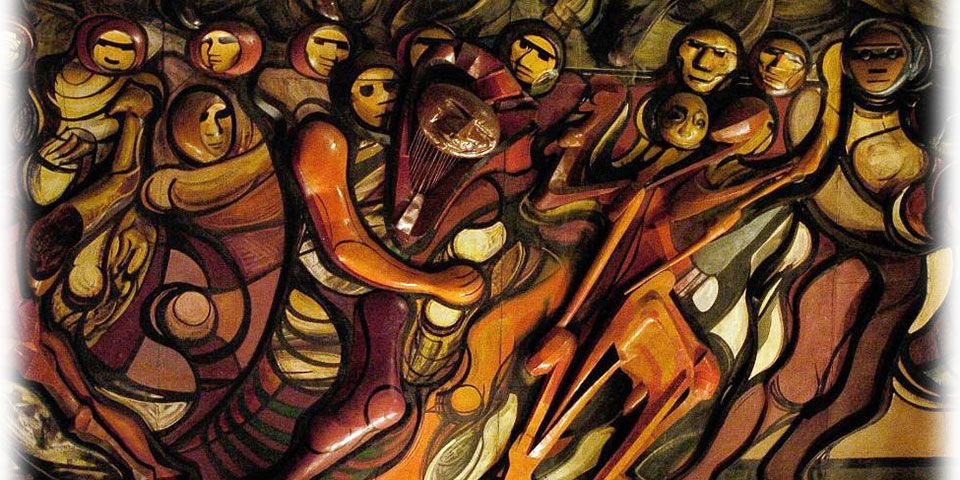 Marcha de la humanidad 1971 la obra cubre el foro for El mural de siqueiros
