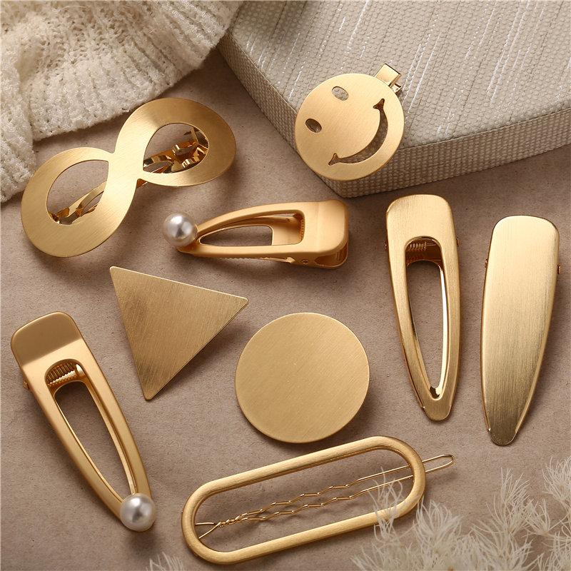 Hair Clips Pins Smiley Face Snap Clips Hair Grips Barrettes Metal Hair Accessories Fashion Hair Accessories Metallic Hair