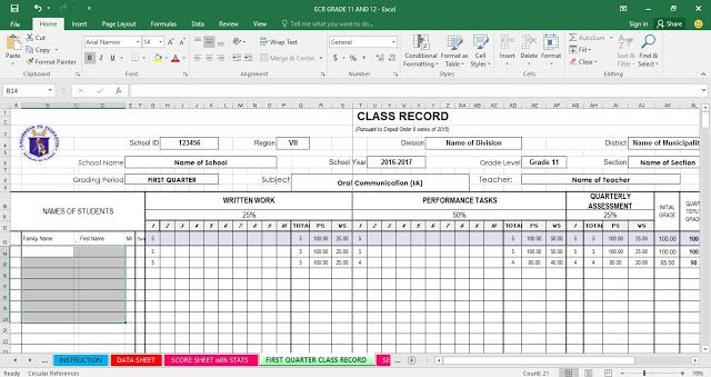New Modified E Class Record For Grades 11 12 Latest Version As