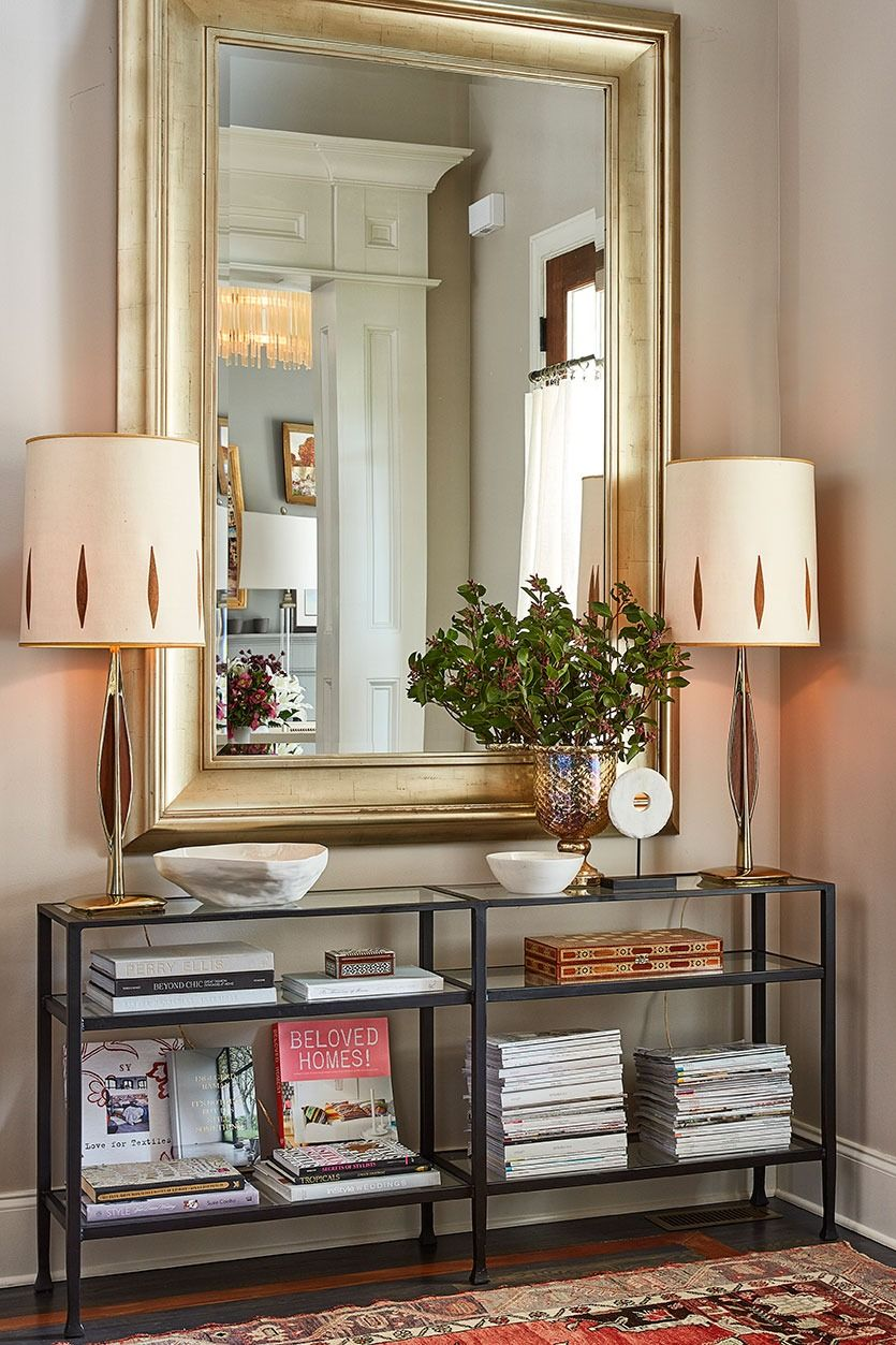 Stylist natalie nassar   atlanta home has  narrow entry that she outfitted with console and an oversized mirror also best small bathroom ideas designs for spaces rh pinterest