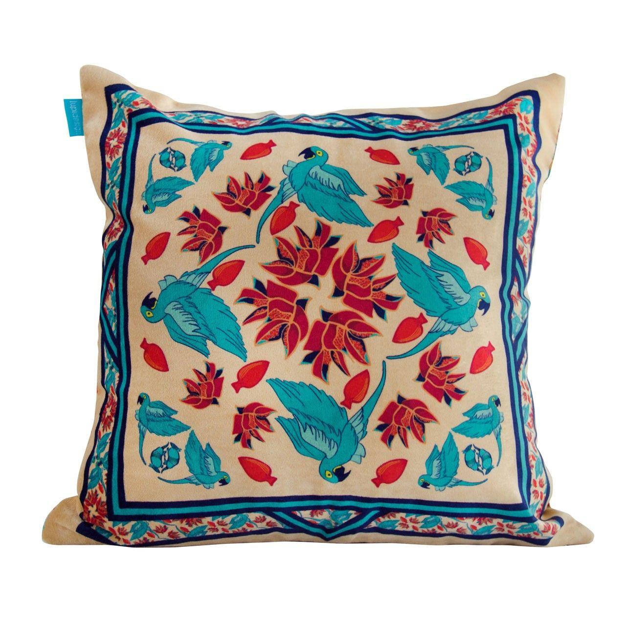 Almofada Arara Azul Veludo