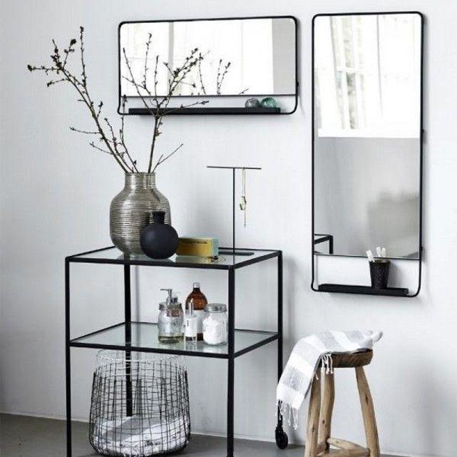 Miroir mural horizontal chic avec tablette et bord noir house doctor house doctor appartment j for Miroir horizontal mural