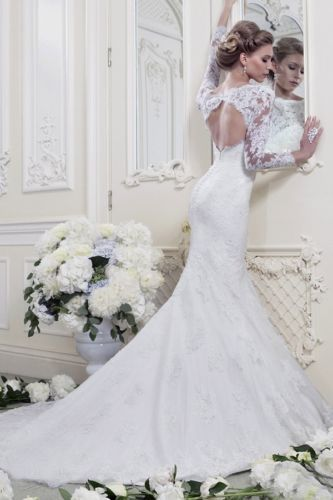 2014 Fashion Mermaid Long-Sleeve lace Wedding Dresses #ShopSimple ...