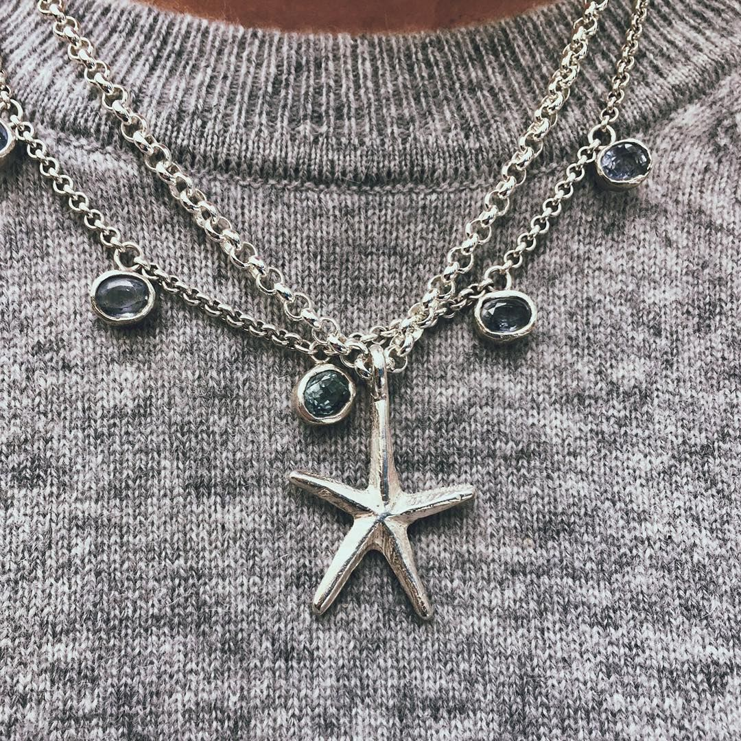 Our new star fish ⭐️ with one of our bespoke sapphire necklaces! #danielladraper #lincoln #starfish