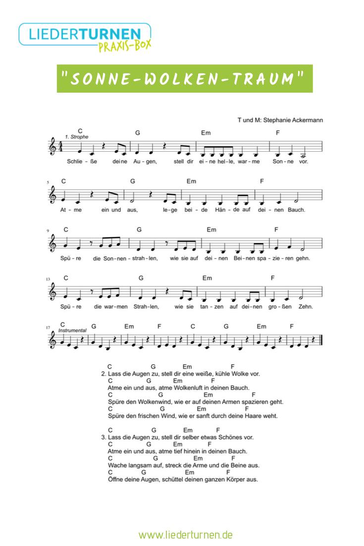 Sonne-Wolken-Traum Mitmachlied Noten   Kinder lied
