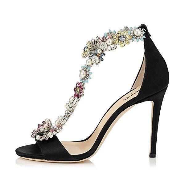 dab724cfce1 XYD Cocktail Party Evening High Heeled Stilettos Wedding Rhinestones Sandals  T-Strap Pumps for Women