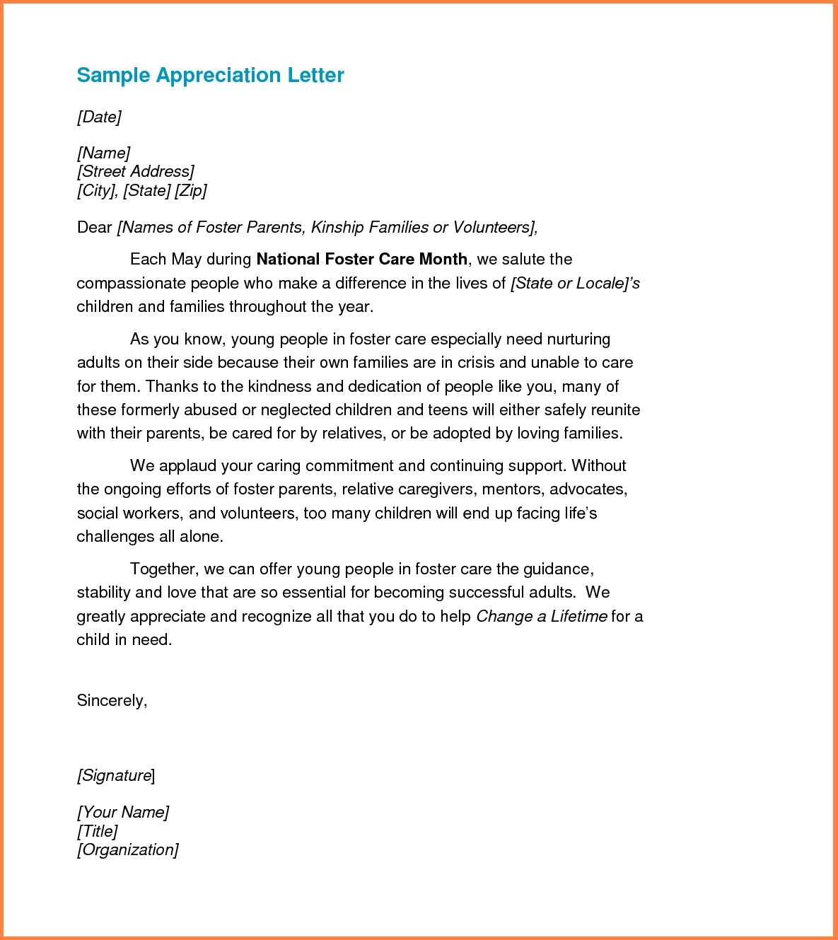 Appreciation Letter Sample Template Resume Builder Recognition