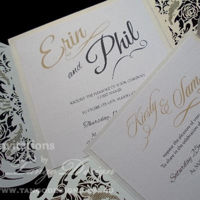 Laser cut wedding invitations with lace design