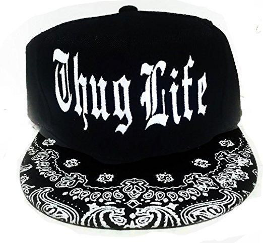 5eb24411a Thug Life Black and White Snapback Hat Flat Bill Snap back ...