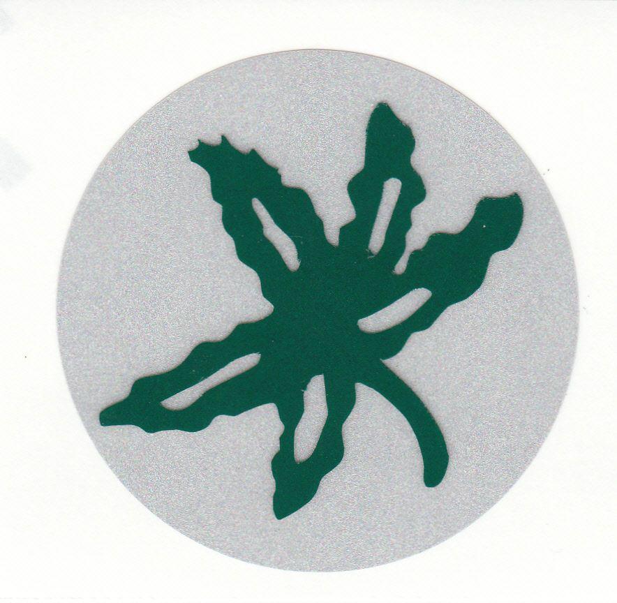 Ohio State Buckeyes Buckeye Leaf Inch Reflective Helmet Decal - Reflective helmet decals stickers