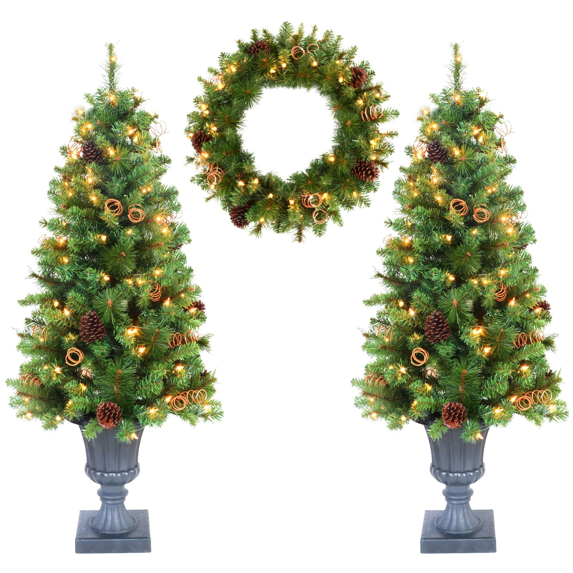 3 Piece 4\' Green Artificial Christmas Tree with Clear Lights Set ...