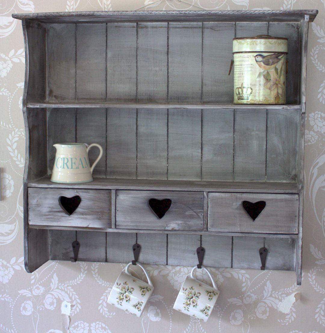 50 Gorgeous Reclaimed Wood Wall Shelves For Beautiful Kitchen Freshouz Com Shabby Chic Kitchen Shelves Shabby Chic Kitchen Cabinets Kitchen Wall Shelves