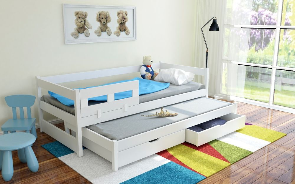 Single Bed With Pull Out Guest Bed Trundle White Kids Children S