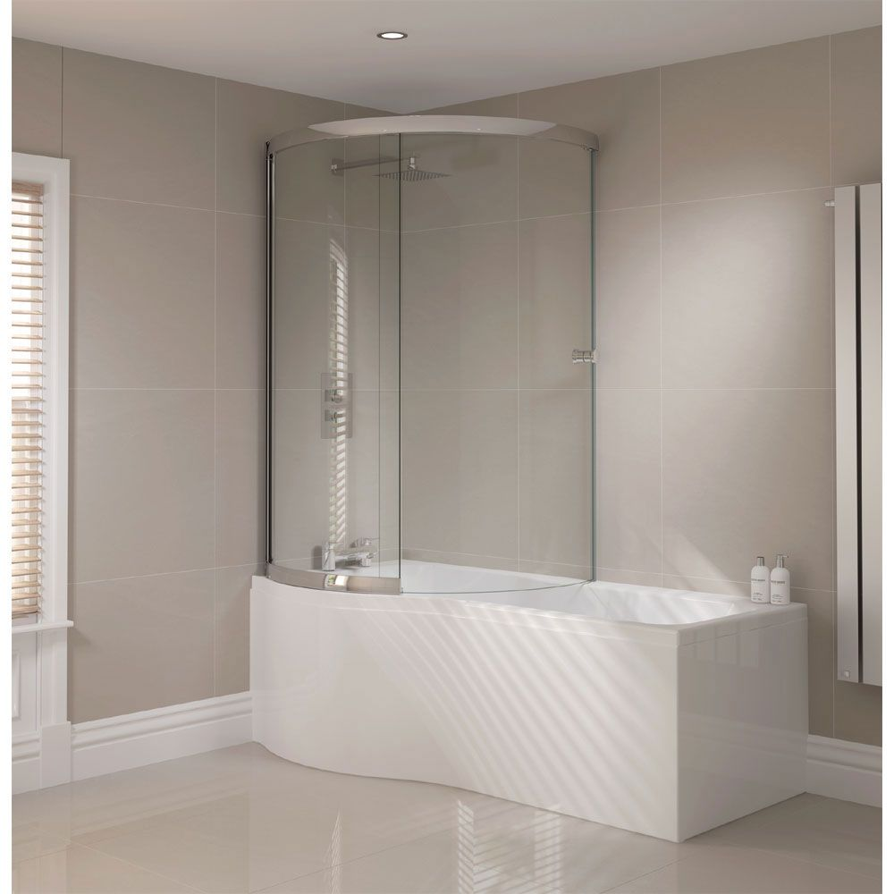 Browse the 1700mm P Shape Shower Bath with Sliding Screen and Acrylic Front  Panel. Left