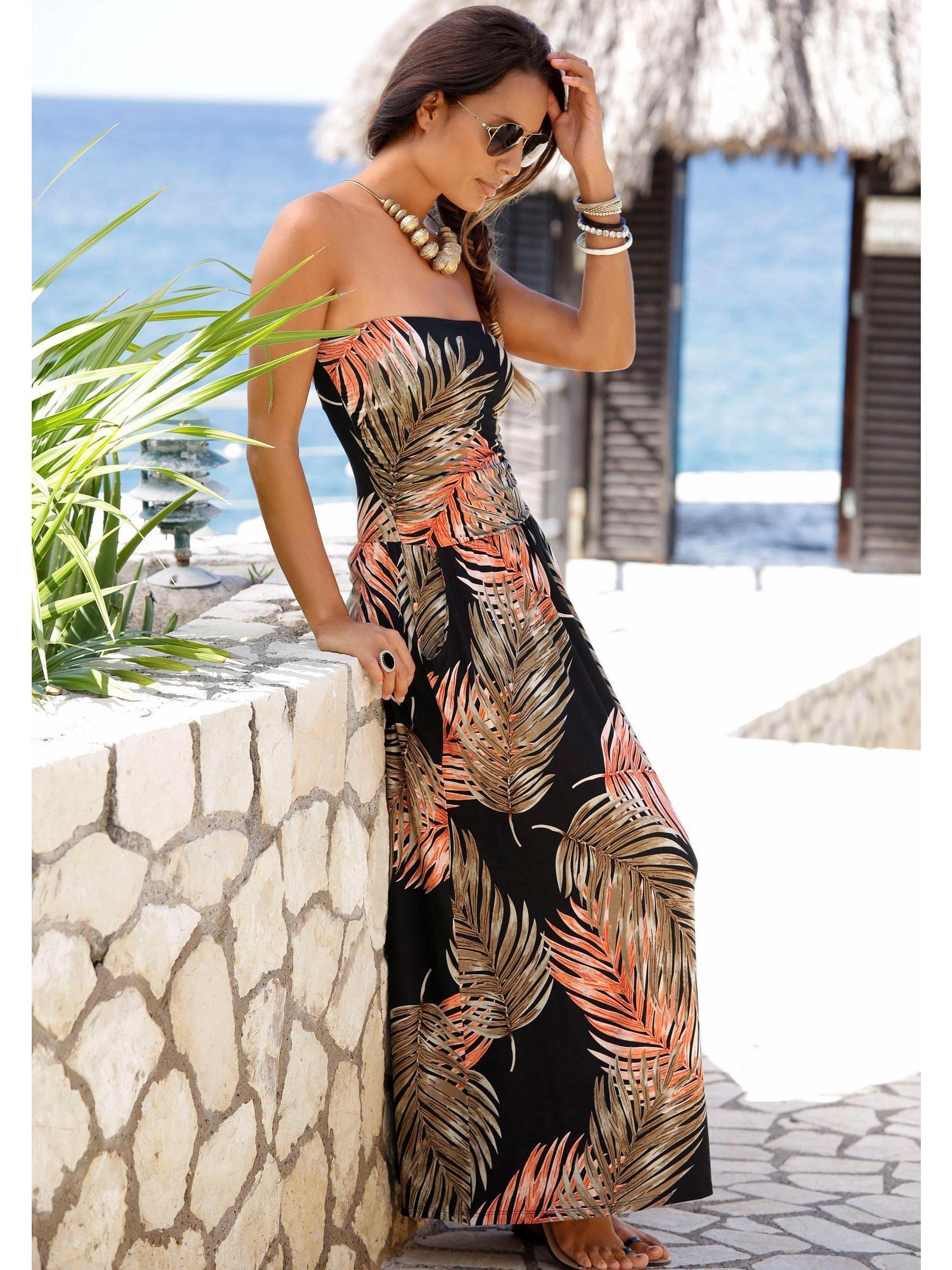 Lascana Maxirobe Helline Robes Maxi Imprimee Robe Longue Bustier Robe Longue