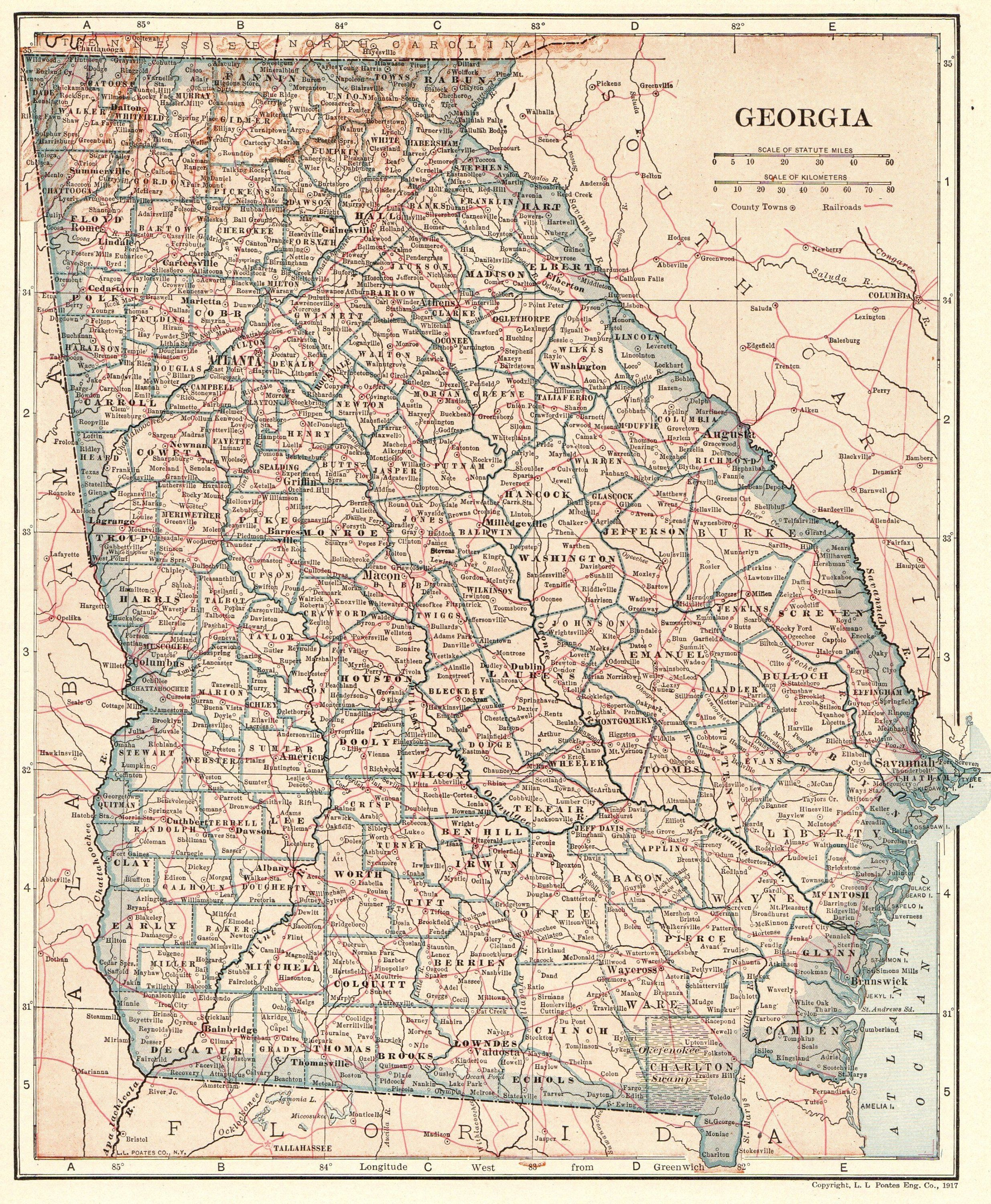 1919 Antique GEORGIA State Map Vintage Map of Georgia Gallery Wall