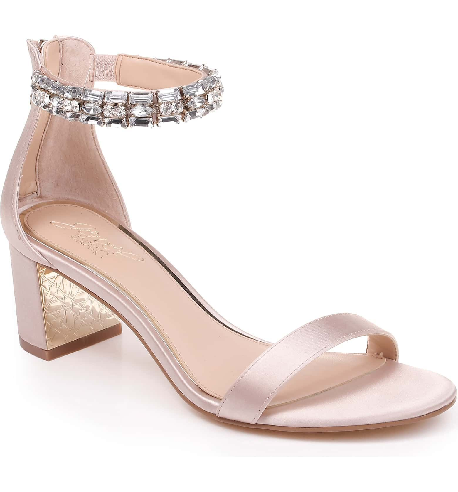 Katerina Ankle Strap Sandal Main Color Champagne Crystal Satin