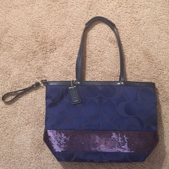 .:NAVY COACH PURSE:. Sparkly sequin trim around bottom, leather handles & like new condition! Coach Bags Totes