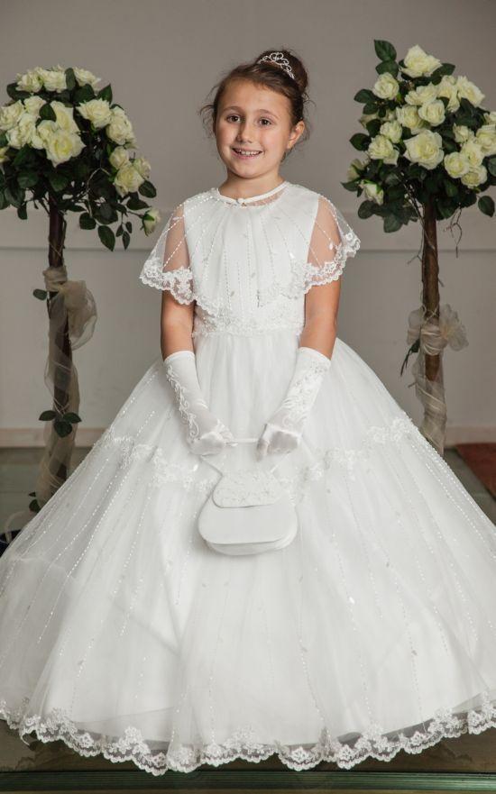 68e55fd2bbb Little People Communion Dress - Satin Lace First Communion dress with Cape  - Styx- Girls First Holy Communion Dress - Princess Holy Communion Dress