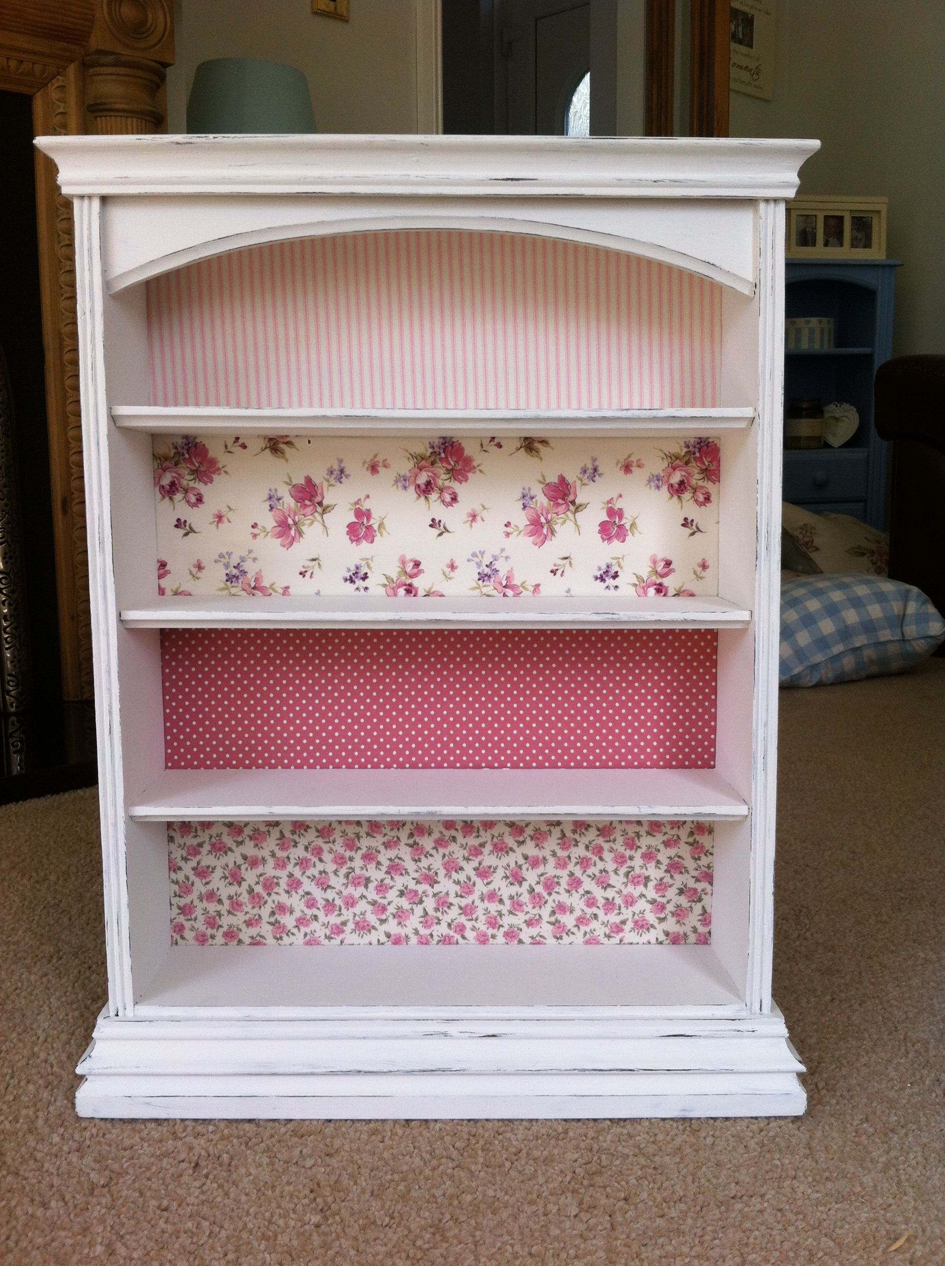 After Upcylced Bookshelf With Shabby Chic Floral Fabrics Shabby Chic Bookcase Shabby Chic Furniture Painting Shabby Chic Room