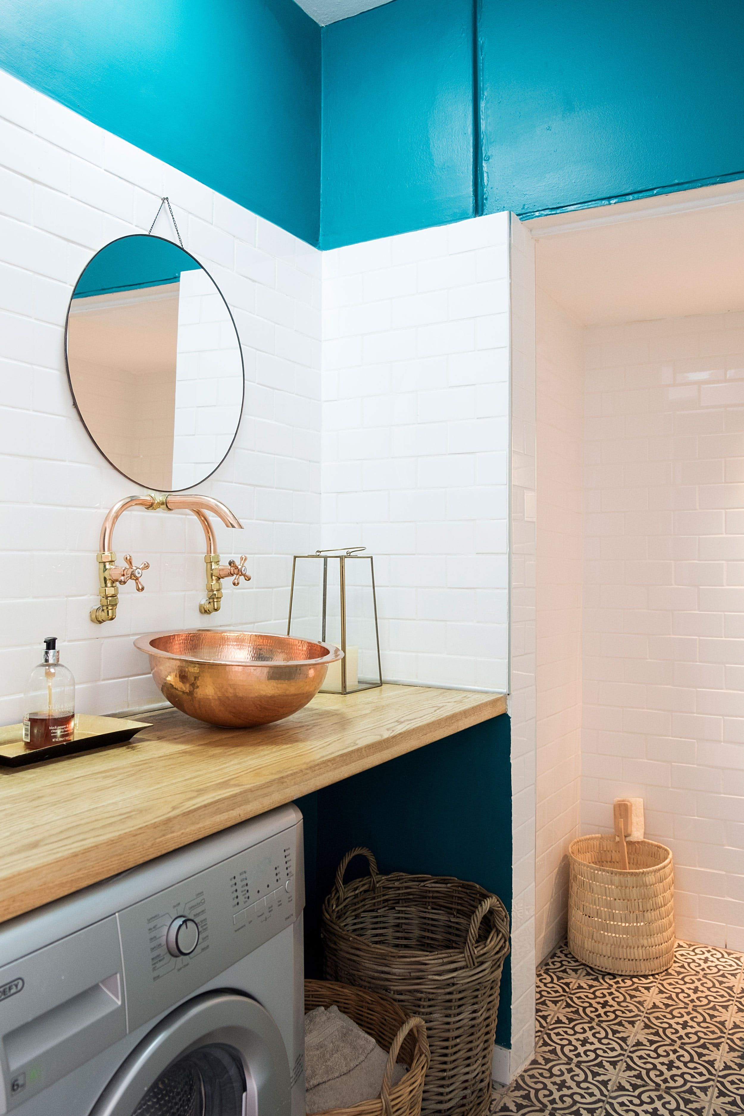 A Moroccan Inspired Cape Town Gem Laundry Bathroom Combo Round Mirror Bathroom Moroccan Tiles