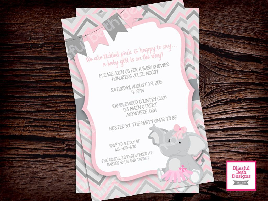 PINK ELEPHANT TUTU, Elephant TuTu Baby Shower Invitation, Baby Shower  Invitation, Elephant Tutu