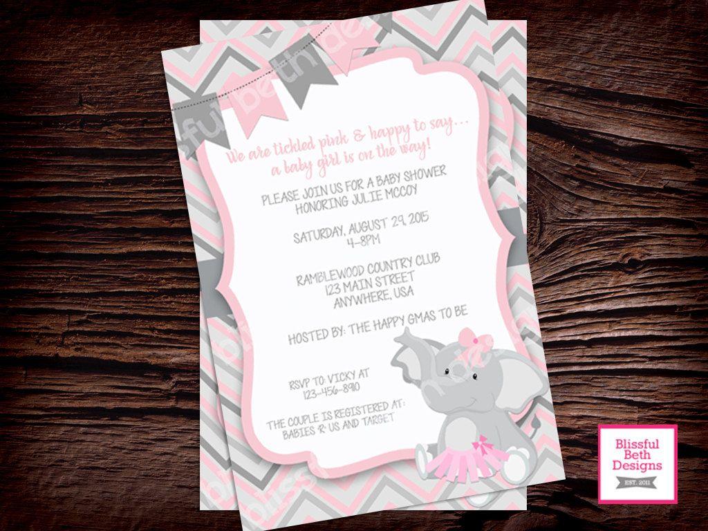 tutu birthday party elephant tutu birthday invitation second birthday invitation elephant tutu pink gray girl birthday invitation tutu