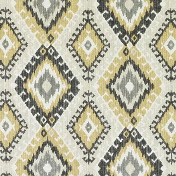Yellow Gray Fabric Yellow Ikat Upholstery by PopDecorFabrics ...