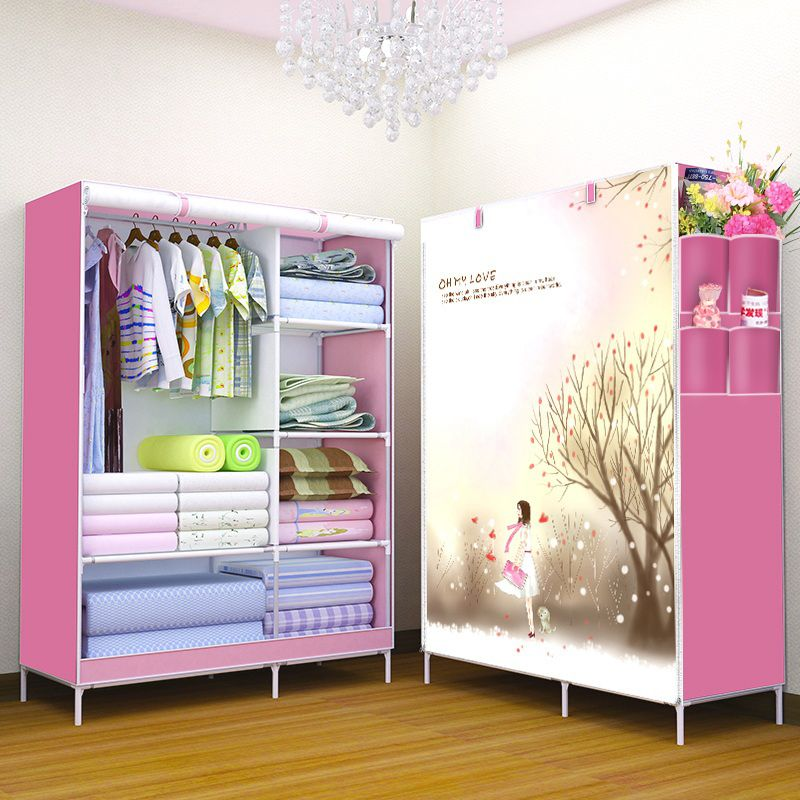 3D Pattern Non Woven Fabric Wardrobe Non Woven Folding Wardrobe Clothes  Closet Cupboard Bedroom Furniture