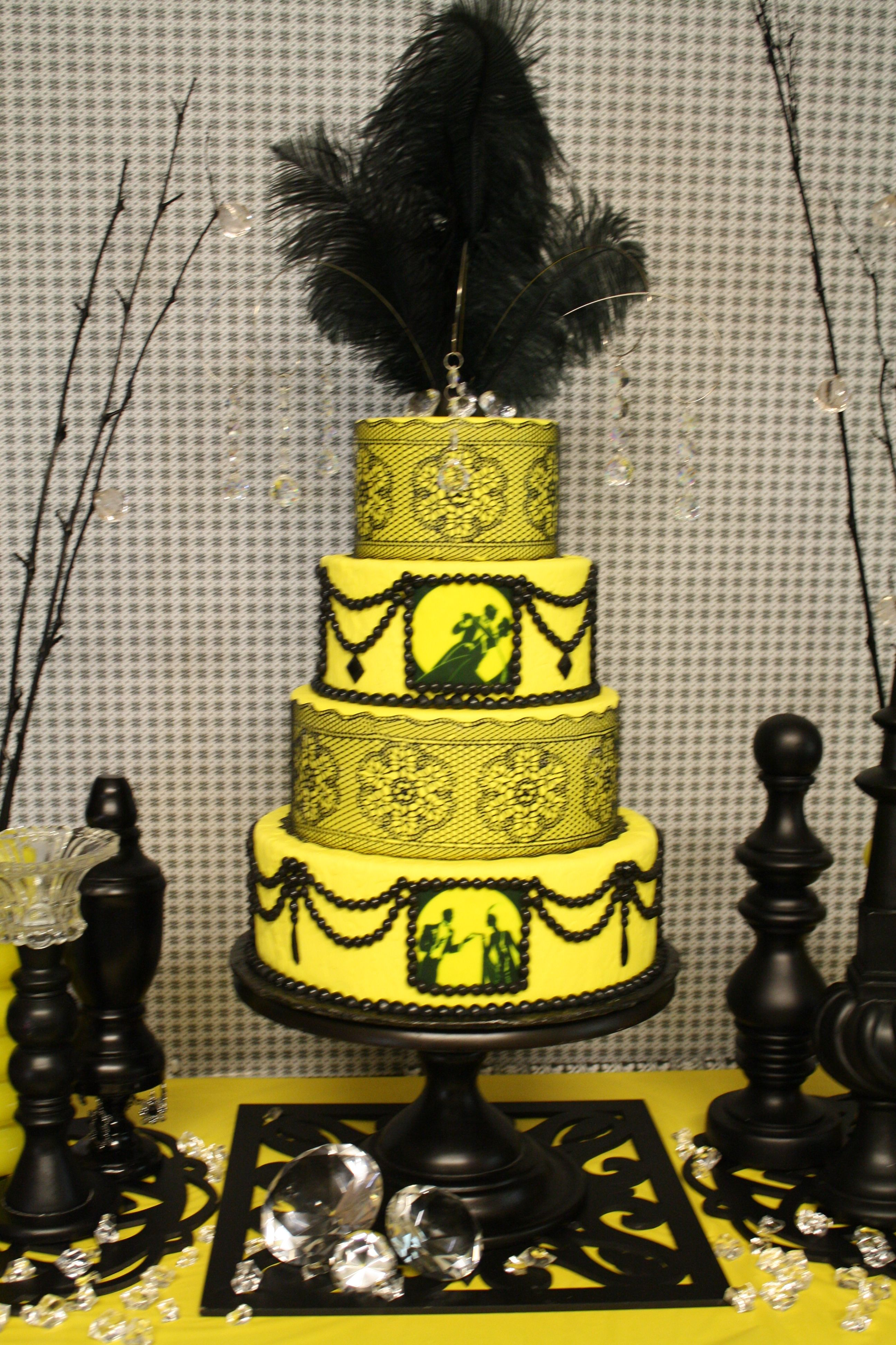 Yellow fondant cake decorated with edible black pearls, edible ...
