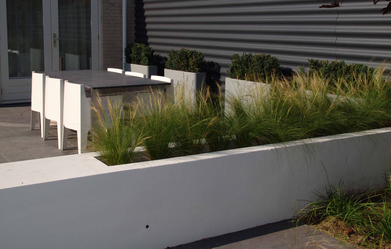 Tuinontwerp modern minimalistisch terras pinterest for Voortuin strak modern