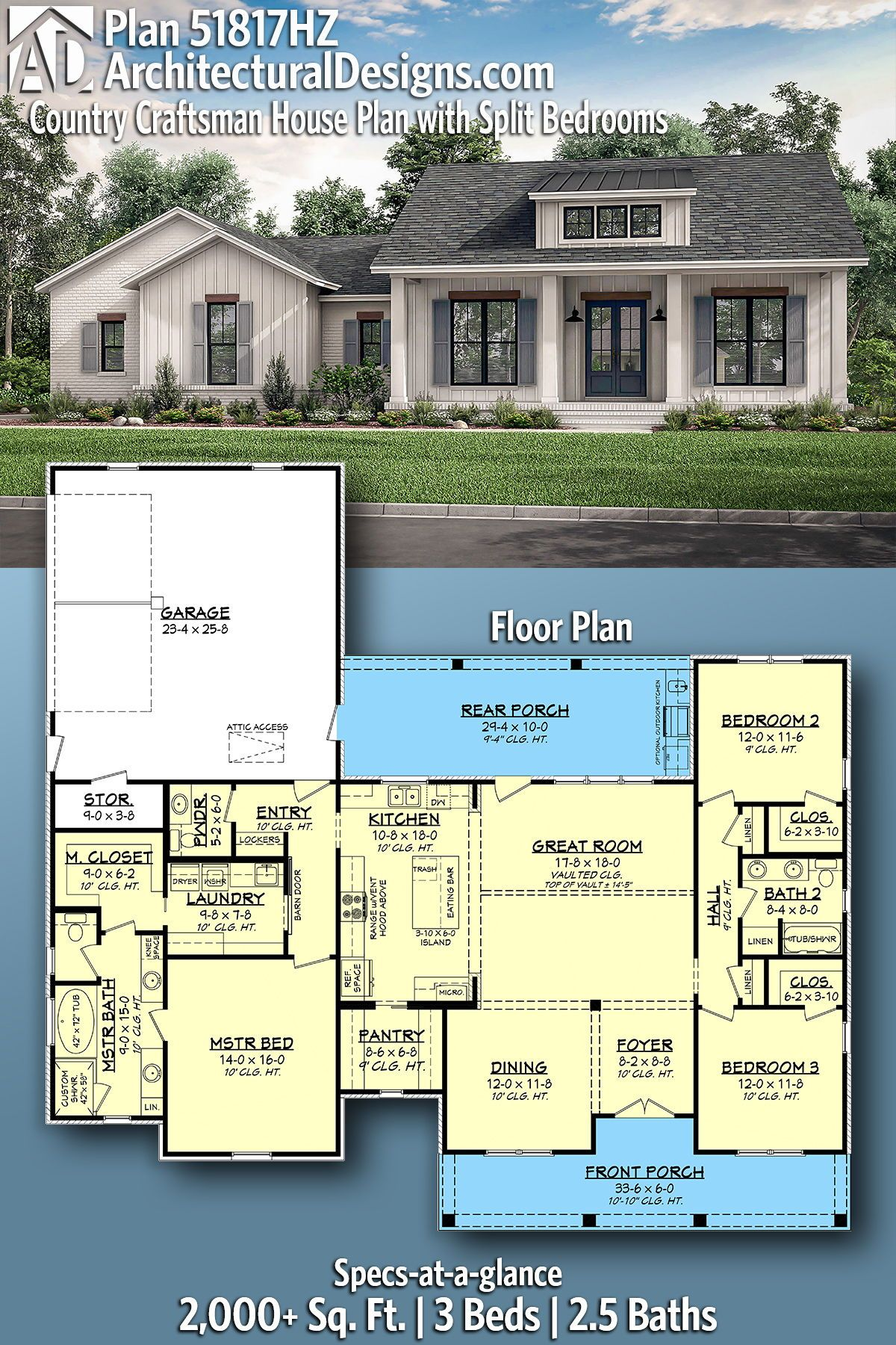Plan 51817hz Country Craftsman House Plan With Split Bedrooms In 2020 House Plans Farmhouse Craftsman House Plans Craftsman House Plan
